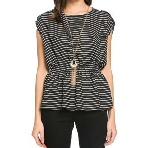 Black and White Striped Top by It Girl NWT